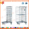 Foldable Metal Wire Mesh Warehouse Storage Container with Wheels (ZHra75)