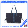Designer Causal Canvas and Leather Shoulder Tote Bag with Metal Detail, Large