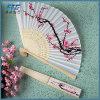 Beauty Flower Silk Hand Fan Brown Ribs Folding Fan