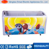 Curved Sliding Glass Door Ice Cream Chest Freezer Showcase