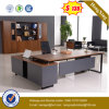 Dark Grey Front Panel Walnut Table Top Office Table (UL-MFC585)
