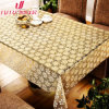 Elegant Luxurious PVC Lace Table Cloth in Gold Color, Gold/ Silver Printed