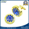 Customized Metal Cufflink with Blue Rhinestones