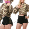 Laced up Black Cutoff Shorts L548