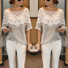 Casual Cotton Lace Blouse Short Sleeve Shirt T-Shirt Summer Tops