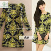 Newest European Printed Long Sleeved Classical Fashion Women Dress