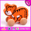 2015 Cheap Pull and Push Toy for Kids, Children Cartoon Animal Pull Line Toy, Mini Funny Wooden Toy Pull Cart with String W05b077