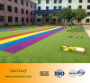 Four Color (blue, green, yellow, red) Artificial Grass, Synthetic Turf, Artificial Lawn for Playground, Kindergartin