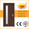 Simple Glass Style Flush PVC Door for Interior Prices (SC-P155)