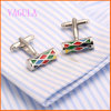 VAGULA High Quality Colorful Painting Shirt Gemelos Cuff Link