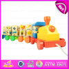 Colourful ABC Letters Wooden Rotational Train Pull Along Toy, Best Selling Wooden ABC Train Toy with Blocks W05c027