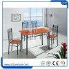 Cherry with Black Color 4 Seater MDF PVC Wooden Dining Table and Chairs Set