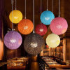 2017 Colorful Vintage LED Globe Rattan Pendant Light