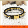 Titanium Steel Chain Woven Leather Bracelet with Stainless Steel Magnet Buckle (BL2865)