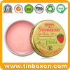 Cosmetics Lip Balm Metal Tin Box with Golden Gloss Varnish
