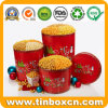 Custom Metal Gift Packaging Box Christmas Storage Tins for Popcorn