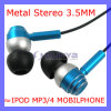 Multi Color Metal Stereo in Ear Headphone Earphone for Phone 4G 4s iPod MP3 MP4 iPad PC (SL-616)