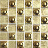 Crystal Mix Electroplated Ceramic Mosaic, Ceramic Wall Mosaic, Gold Ceramic Mosaic Tile (48FJ05G)