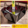 New Style Hotel Lobby Furniture Polygonal Black Glass Coffee Table