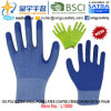 13G Polyester Shell Foam Latex Coated Gloves (L1000) Criss-Cross on The Palm with CE, En388, En420, Work Gloves