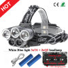 Newest Style 3xcree T6+2xq5 LED Headlamp USB Rechargeable Headlamp+2X18650 Batteries