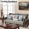 Antique Fabric Couch Classical American Sofa with Wooden Carved Trim for Living Room