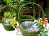 Round Moss Handle Flower Girl Basket