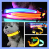 Red Blue Yellow LED Dog Collar with Thin LED Strip Light Flashing Light up Glow
