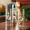 Tubular Shaped Glass Alcohol Lamp, Glass Candle Holder for Wedding, Glass Oil Candle Holder