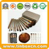 Makeup Brush Set Metal Tin for Cosmetics Packaging Boxes