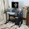 Home Black Glass Computer Table with Drawers (LM-885B)