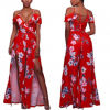 Fashion Women Sexy Slim Printed V-Neck off Shoulder Bandage Slip Dress