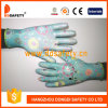 Ddsafety 2017 13 Gauge Polyester Blue Flower Printed Gloves Core White PU Palm DIP