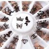 2016 New 120PCS 3D Black Metal Nail Art Decoration Love Shape Charm Nail Jewelry Accessories