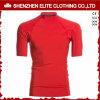 Customised Plain Red Short Sleeves Compression Rash Guards (ELTRGI-23)