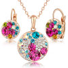 Ladies Mikey Design Gold Milticolor Stones Jewelry Set
