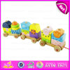 Kids Wooden Train Set Pull Along Toy, Wooden Block Train Toy for Children, Pull Shape Block Train Toy W05c021
