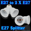 E27 to Dual Double 2X E27 Socket Base Extend Splitter Plug Halogen Light Lamp Bulb Holder Copper Contact Adapter Converter