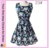 Factory Elegant Plus Size Floral Print Chiffon Short Sleeveless Dress
