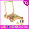 2015 New Style Kids Wooden Toy Pull Cart, Funny Child Wooden Toy Block Cart, Promotional Wooden Hand Cart with Four Wheels W13c020