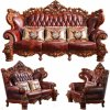 Luxury Leather Sofa with Wood Sofa Frame (529)