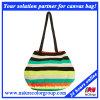 Pastoral Lady Girl Handbag Tote Bag with Color Stripe