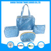 Blue Satin Jacquard Weave Cosmetic Bag Makeup Bag Set Bags