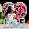 Heart-Shaped 3D Laser Crystal Photo Frame for Souvenir