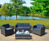 Outdoor Patio Furniture Set, 4 Piece Rattan Wicker Sofa Cushioned with Coffee Table
