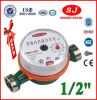 Single Jet Dry Dial Brass Body Class B Green Hot Water Meter