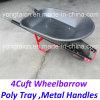 America 4cuft Poly Tray Metal Handles Wheelbarrow for Gardenning
