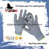 13G Polyester/Nylon Palm Gary PU Coated Glove