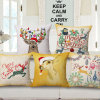 Merry Christmas Thick Cotton Linen Fabric Printed Cushion Cover (35C0178)