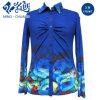 Ocean Blue Multi-Pattern Button Turn-Down Collar Elastic Slim Blouse